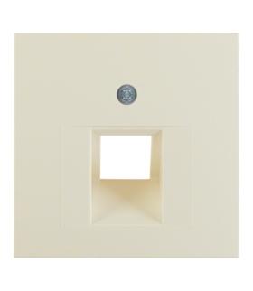 B.Kwadrat Płytka czołowa do gniazda przyłączeniowego UAE 1-kr komputerowego i telefonicznego, kremowy, połysk Berker 5314078982