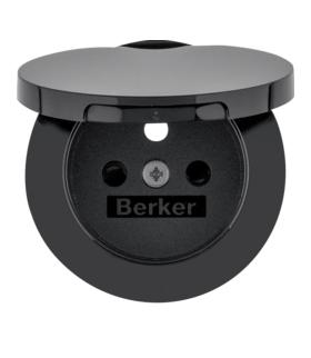 R.1/R.3 Płytka czołowa do gniazda z uziemieniem i pokrywą, czarny, połysk Berker 3965832045