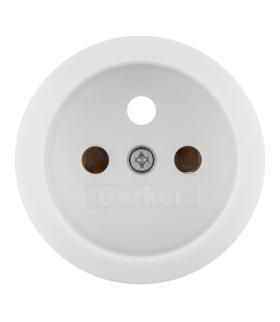 Serie 1930/Glas Płytka czołowa z przysłonami styków do gniazda z uziemieniem, biały Berker 396579