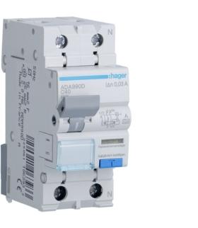 ADA990D RCBO Wyłącznik różnicowoprądowy z członem nadprądowym 1P+N 6kA C 40A/30mA Typ A Hager