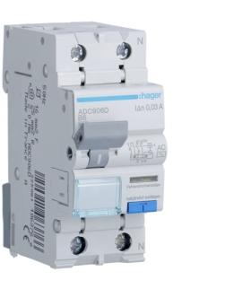 ADC906D RCBO Wyłącznik różnicowoprądowy z członem nadprądowym 1P+N 6kA B 6A/30mA Typ AC Hager