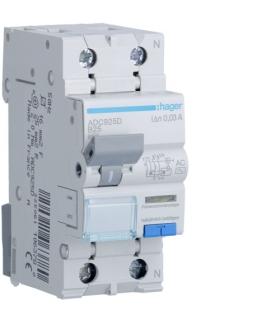 ADC925D RCBO Wyłącznik różnicowoprądowy z członem nadprądowym 1P+N 6kA B 25A/30mA Typ AC Hager