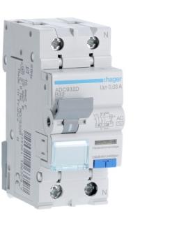 ADC932D RCBO Wyłącznik różnicowoprądowy z członem nadprądowym 1P+N 6kA B 32A/30mA Typ AC Hager