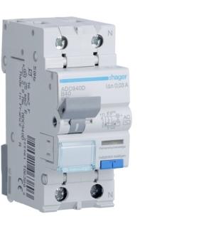 ADC940D RCBO Wyłącznik różnicowoprądowy z członem nadprądowym 1P+N 6kA B 40A/30mA Typ AC Hager