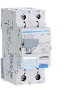 ADC956D RCBO Wyłącznik różnicowoprądowy z członem nadprądowym 1P+N 6kA C 6A/30mA Typ AC Hager