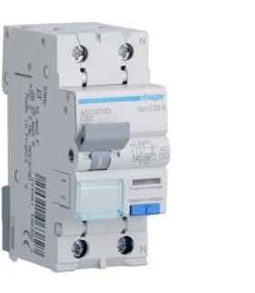 ADC970D RCBO Wyłącznik różnicowoprądowy z członem nadprądowym 1P+N 6kA C 20A/30mA Typ AC Hager
