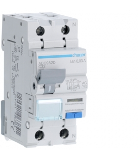 ADC982D RCBO Wyłącznik różnicowoprądowy z członem nadprądowym 1P+N 6kA C 32A/30mA Typ AC Hager