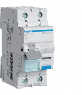 ADH906 RCBO Wyłącznik różnicowoprądowy z członem nadprądowym 1P+N 6kA B 6A/30mA Typ A-HI Hager