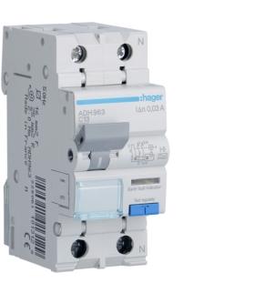 ADH963 RCBO Wyłącznik różnicowoprądowy z członem nadprądowym 1P+N 6kA C 13A/30mA Typ A-HI Hager