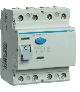 CD480Z RCCB Wyłącznik różnicowoprądowy 4P 80A/30mA Typ AC Hager