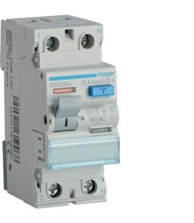 CDC225J RCCB Wyłącznik różnicowoprądowy 1P+N 25A 30mA 6kA AC Hager