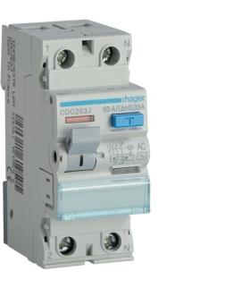 CDC263J RCCB Wyłącznik różnicowoprądowy 1P+N 63A 30mA 6kA AC Hager