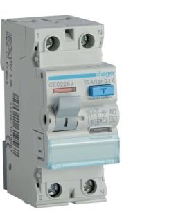 CEC225J RCCB Wyłącznik różnicowoprądowy 1P+N 25A 100mA 6kA AC Hager