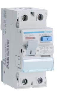 CEC240J RCCB Wyłącznik różnicowoprądowy 1P+N 40A 100mA 6kA AC Hager