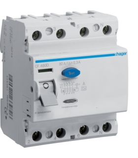 CF480D RCCB Wyłącznik różnicowoprądowy 4P 80A/300mA Typ A Hager
