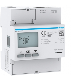 ECA380D Licznik energii elektrycznej 3-fazowy, 80A 4M, AGARDIO, MID Hager