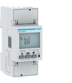 ECM180D Licznik energii elektrycznej 1-fazowy, 80A 2M, M-bus, MID Hager