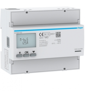 ECM310D Licznik energii elektrycznej 3-fazowy, 125A 6M, M-bus, MID Hager