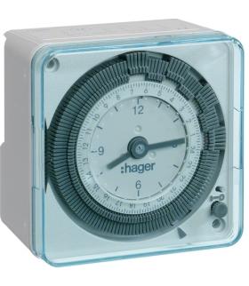 EH710 Zegar analogowy dobowy bez rezerwy chodu w obudowie 230V 1P 16A Hager