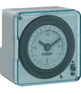 EH712 Zegar analogowy dobowy bez rezerwy chodu w obudowie 230V 1NO 16A Hager