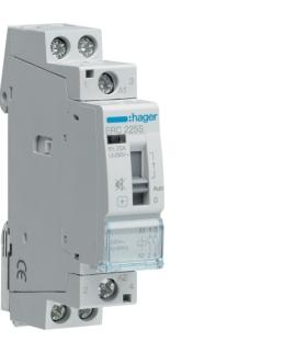 ERC225S Stycznik cichy z możliwością sterowania ręcznego 230VAC 2NO 25A AC-7a/b Hager