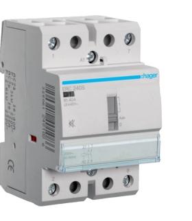 ERC240S Stycznik cichy z możliwością sterowania ręcznego 230VAC 2NO 40A AC-7a/b Hager