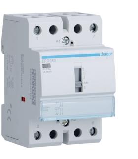 ERC263 Stycznik z możliwością sterowania ręcznego 230VAC 2NO 63A AC-7a/b Hager