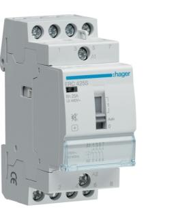 ERC425S Stycznik cichy z możliwością sterowania ręcznego 230VAC 4NO 25A AC-7a/b  Hager
