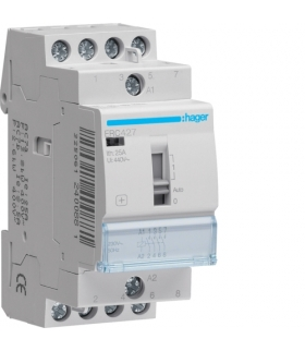 ERC427 Stycznik z możliwością sterowania ręcznego 230VAC 2NO+2NC 25A AC-7a/b  Hager