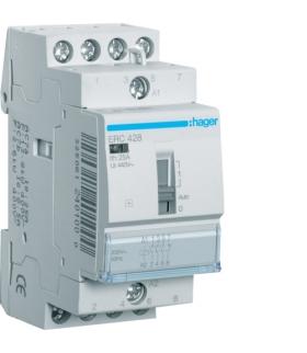 ERC428 Stycznik z możliwością sterowania ręcznego 230VAC 3NO+1NC 25A AC-7a/b Hager