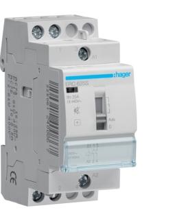 ERC625S Stycznik cichy z możliwością sterowania ręcznego 230VAC 2NO 25A AC-7a/b  Hager