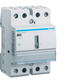 ERD240S Stycznik cichy z możliwością sterowania ręcznego 24VAC/DC 2NO 40A AC-7a/b  Hager