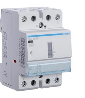 ERD263S Stycznik cichy z możliwością sterowania ręcznego 24VAC/DC 2NO 63A AC-7a/b Hager