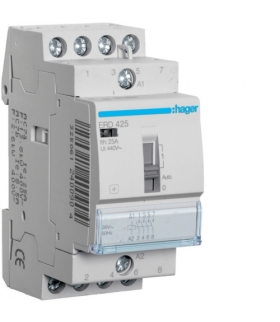 ERD425 Stycznik z możliwością sterowania ręcznego 24VAC 4NO 25A AC-7a/b Hager