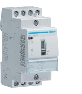 ERD425S Stycznik cichy z możliwością sterowania ręcznego 24VAC 4NO 25A AC-7a/b Hager