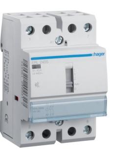 ERL240S Stycznik cichy z możliwością sterowania ręcznego 12VAC/DC 2NO 40A AC-7a/b Hager