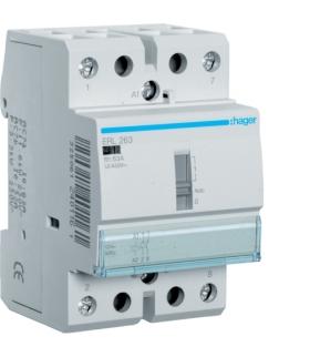 ERL263 Stycznik z możliwością sterowania ręcznego 12VAC 2NO 63A AC-7a/b Hager