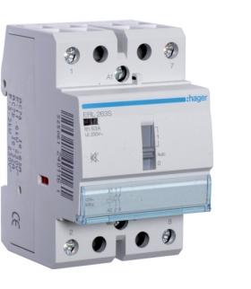 ERL263S Stycznik cichy z możliwością sterowania ręcznego 12VAC/DC 2NO 63A AC-7a/b Hager