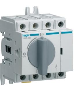 HAB402 Modułowy rozłącznik izolacyjny obrotowy 4P 20A,  rozmiar 1  Hager