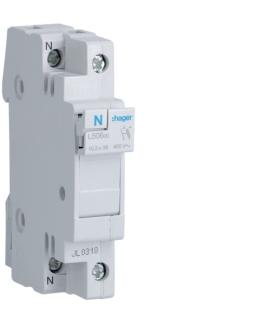 L50600 Modułowa podstawa bezpiecznikowa 1P+N wkł.bezp.cyl.L38 10x38mm 32A 400VAC Hager