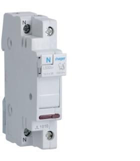 L53201 Mod. podst. bezp. 1P+N z lamp. kontr. 230VAC wkł.bezp.cyl.L38 10x38mm 32A 400VAC Hager