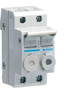 L95200 Modułowy rozłącznik bezpiecznikowy 1P+N wkł.bezp.cyl.L38 10x38mm 20A 400VAC Hager
