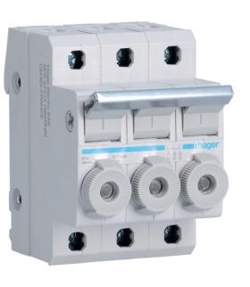 L95300 Modułowy rozłącznik bezpiecznikowy 3P wkł.bezp.cyl.L38 10x38mm 20A 400VAC Hager