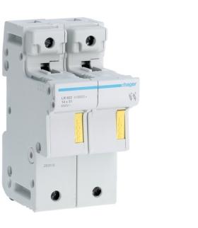 LR602 Modułowa podstawa bezpiecznikowa 2P wkł.bezp.cyl.L51 14x51mm 50A 690VAC Hager