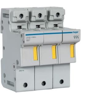 LR603 Modułowa podstawa bezpiecznikowa 3P wkł.bezp.cyl.L51 14x51mm 50A 690VAC Hager