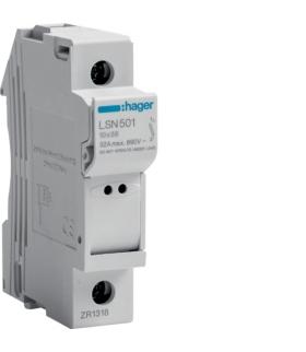 LSN501 Modułowa podstawa bezpiecznikowa 1P wkł.bezp.cyl.L38 10x38mm, 32 A, 690 VAC Hager