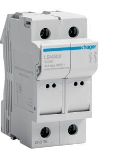 LSN502 Modułowa podstawa bezpiecznikowa 2P wkł.bezp.cyl.L38 10x38mm, 32A 690VAC Hager