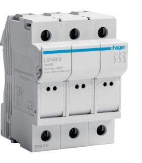 LSN503 Modułowa podstawa bezpiecznikowa 3P wkł.bezp.cyl.L38 10x38mm, 32A 690VAC Hager