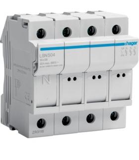 LSN504 Modułowa podstawa bezpiecznikowa 3P+N wkł.bezp.cyl.L38 10x38mm, 32A 690VAC Hager