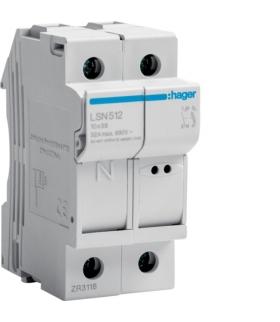 LSN512 Modułowa podstawa bezpiecznikowa 1P+N wkł.bezp.cyl.L38 10x38mm, 32A 690VAC Hager